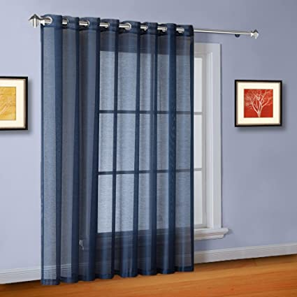 Nice Warm Home Designs 1 Extra Wide Navy Blue Sheer Patio Curtain Panel 102 X 95
