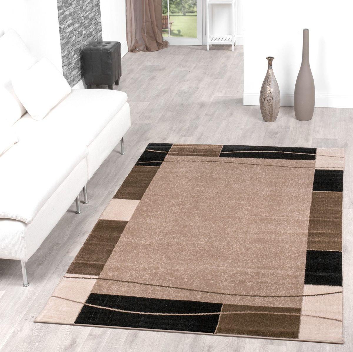 Teppich Günstig Bordüre Design Modern Wohnzimmerteppich Beige Schwarz Top Preis, Größe 60x100 cm