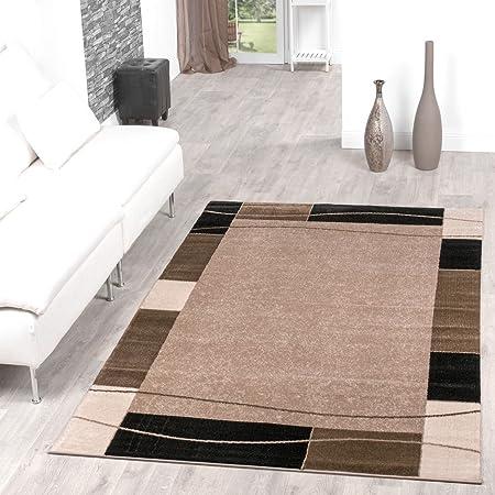 Teppich Günstig Bordüre Design Modern Wohnzimmerteppich Beige ...