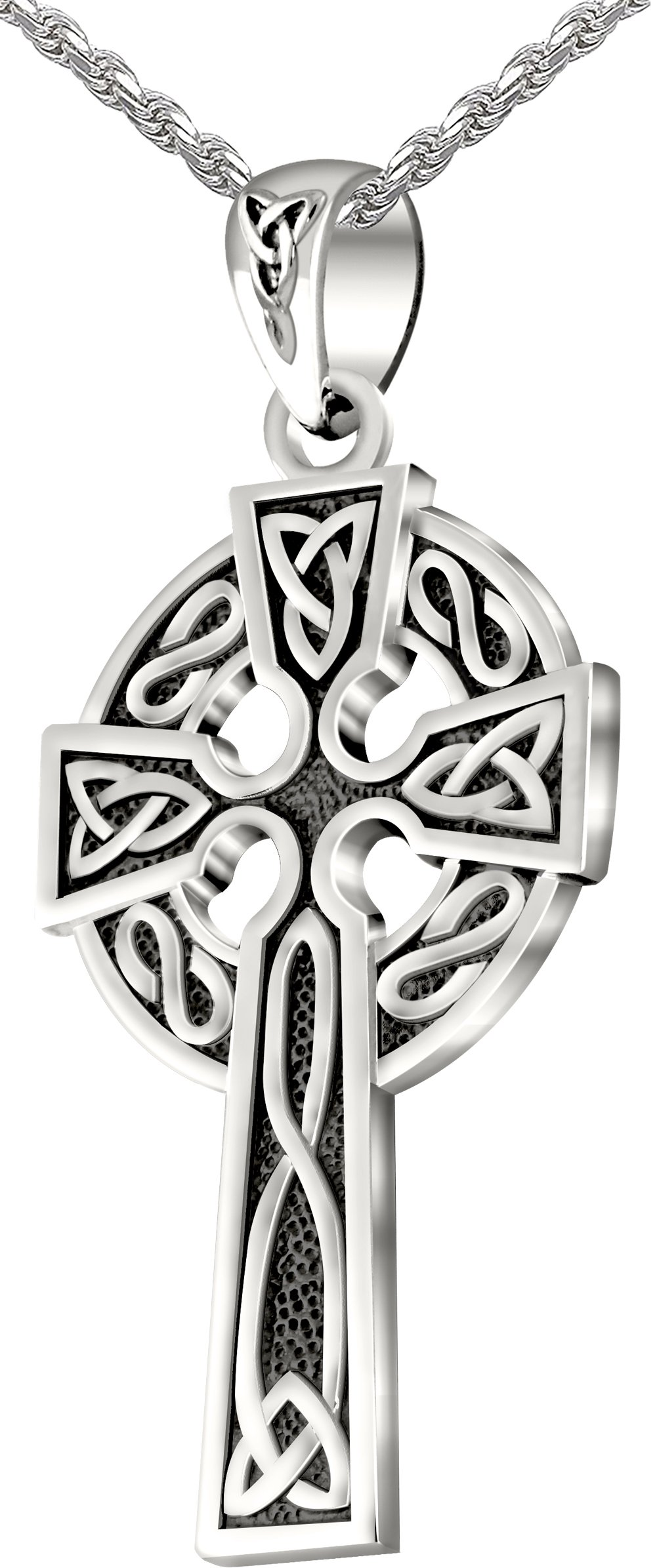 Mens 0.925 Sterling Silver 1.625in Irish Celtic Knot Cross Pendant Antique Finish 3.0mm Figaro Necklace, 24''