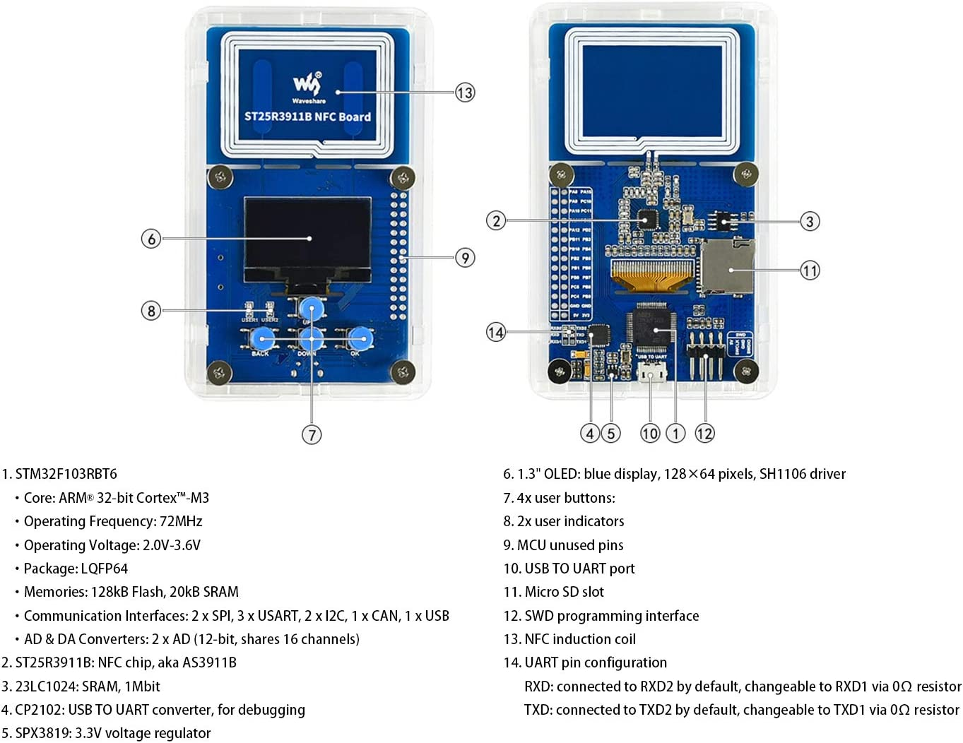 ST25R3911B NFC Development Kit NFC Reader,Onboard STM32F103 Controller//1.3 OLED Display//SRAM//Micro SD Slot//Programming UART Debugging Interface Support Multi NFC Protocols up to 1.4W Output Power