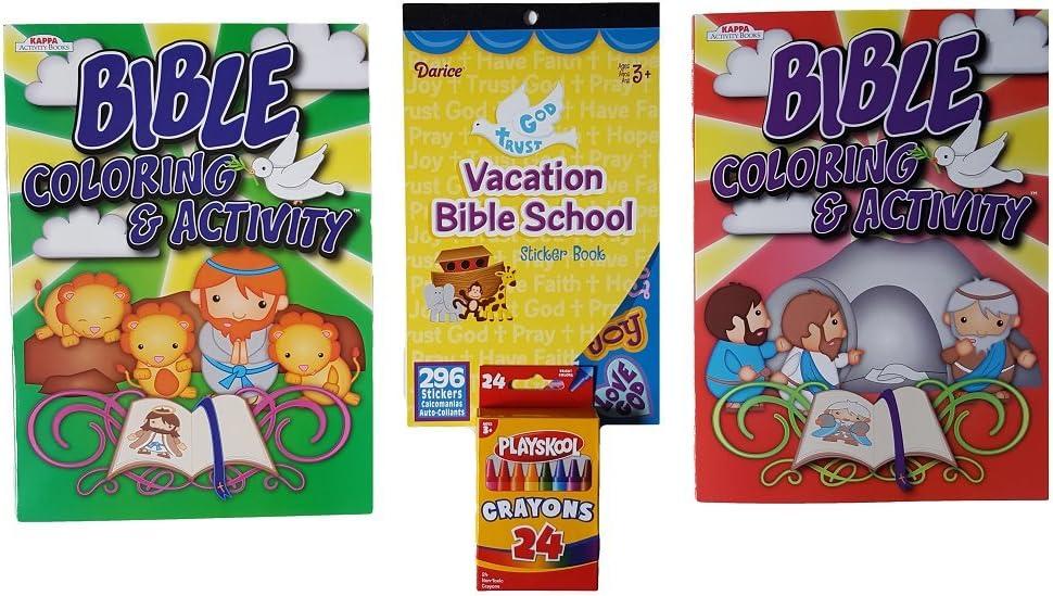 Mixed Kit de Actividades para niños: Tema de la Biblia, Paquete de 4 artículos: 2 Libros de Colorear y Actividad, 1 Libro de Pegatinas y 1 Paquete de 24 Ceras: Amazon.es: Juguetes y juegos