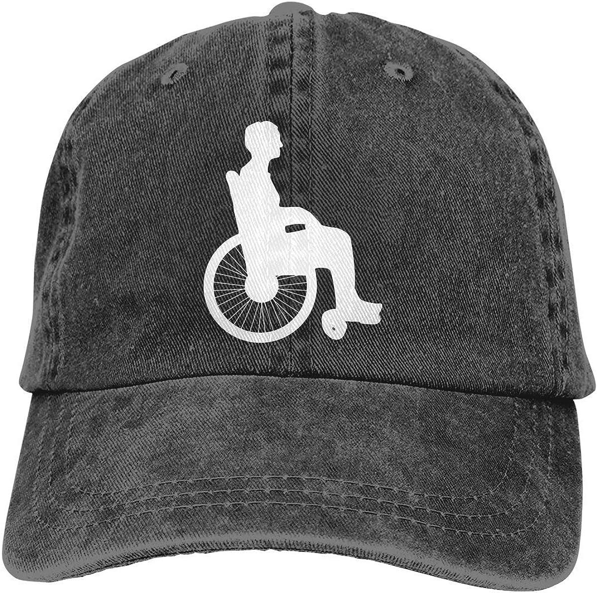 Sombrero de Hip Hop de Fitness, Gorra de cráneo de Secado rápido, Gorra de Viaje Que Absorbe la Humedad, Gorra de béisbol de Jeanet de Silueta de Silla de Ruedas Gorra de béisbol Ajustable
