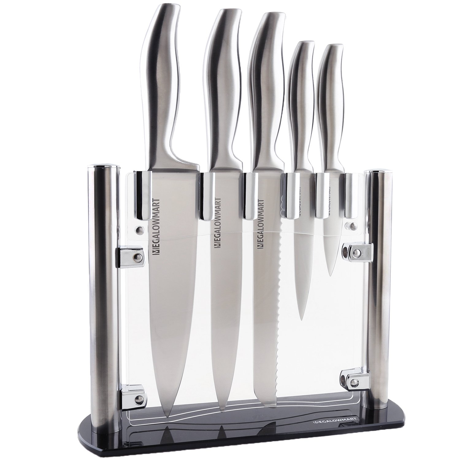 MEGALOWMART Professional 6 Piece Stainless Steel Kitchen Knife Set with Acrylic Stand