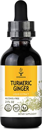 HERBAMAMA Turmeric Ginger Liquid Extract with Black Pepper - Organic Drops Supporting Immunity, Joint Function & Muscle Wellness - Natural Brain & Energy Support - Non-GMO, Vegan - 2 fl. Oz Bottle