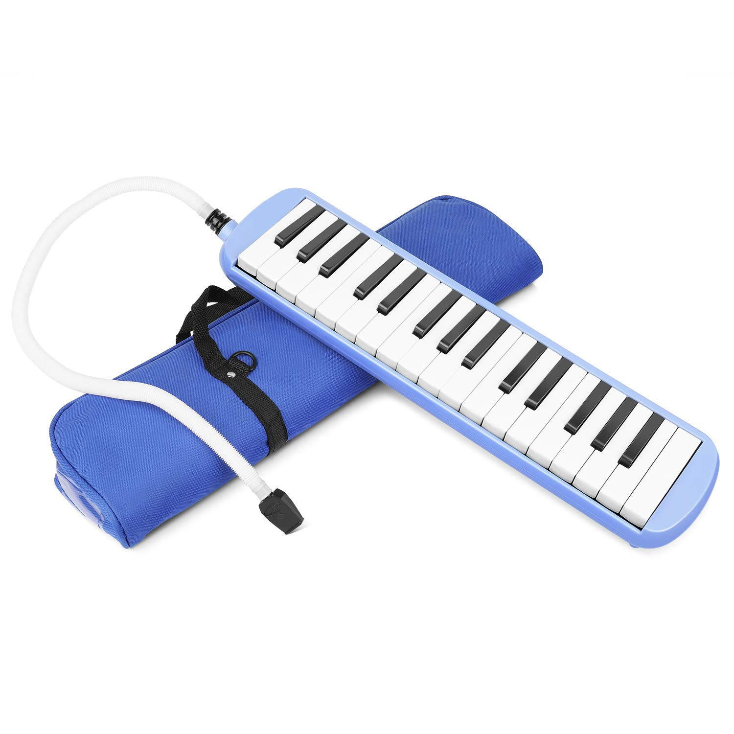 Flexzion Melodica 32 Piano Keys - Melodica Keyboard with Mouthpiece Tube, Portable Musical Instrument Pianica Melodicas Piano Style with Carrying Bag (32 Key) (Blue)