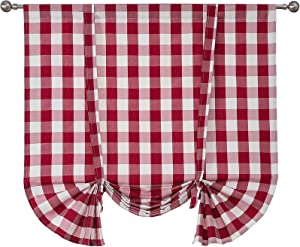 Buffalo Check Plaid Tie Up Curtain Valances 1 Panel 46 x 63 Inch, Linen Burlap Red and White Gingham Thick Farmhouse Kitchen Curtains, Dining Room Decor Rod Pocket Balloon Shades for Cafe Bathroom