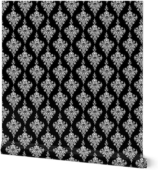 Removable Water-Activated Wallpaper Halloween Black White Gothic Victorian Skull
