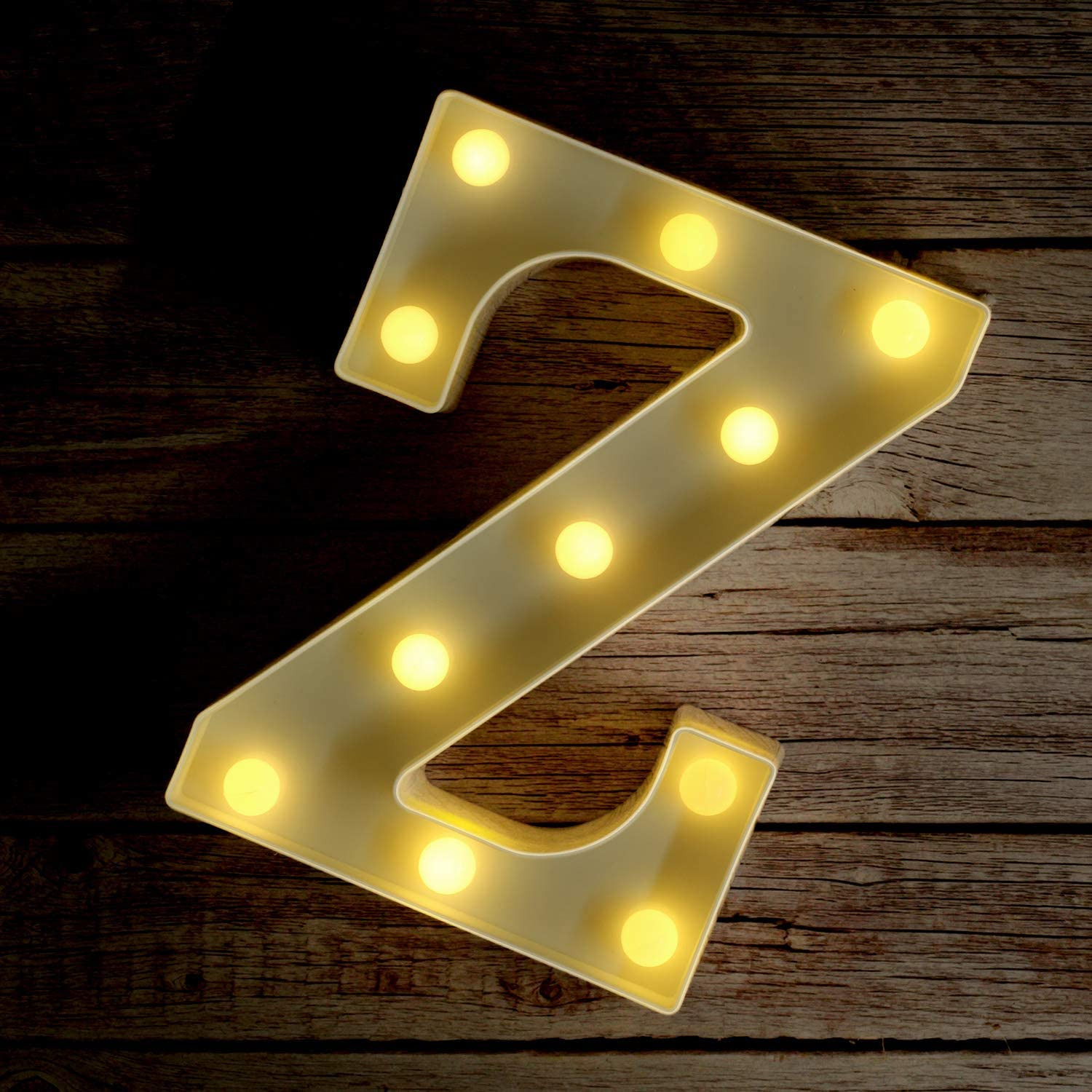 Novelty Place Alphabet Light - Marquee Letters Sign with Shining Bulbs, Standing Night Lamp for Wedding Home Party Bar Décor - Battery Powered, Warm White (Letter Z)