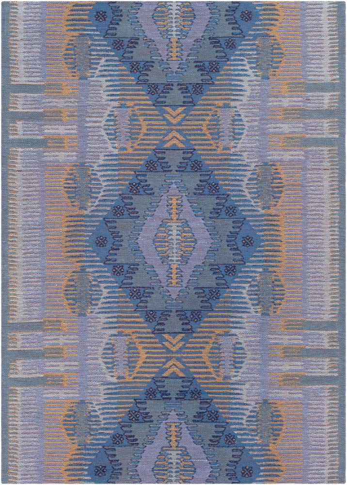 Telford Updated Moroccan Bohemian 5' x 7'6'' Rectangle Indoor/Outdoor 100% PET Yarn Denim/Aqua/Bright Yellow/Ice Blue/Dark Blue Area Rug by Hauteloom