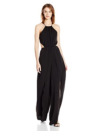 f2ba9a35227 Amazon.com  Halston Heritage Women s Halter Neck Flowy Jumpsuit with ...