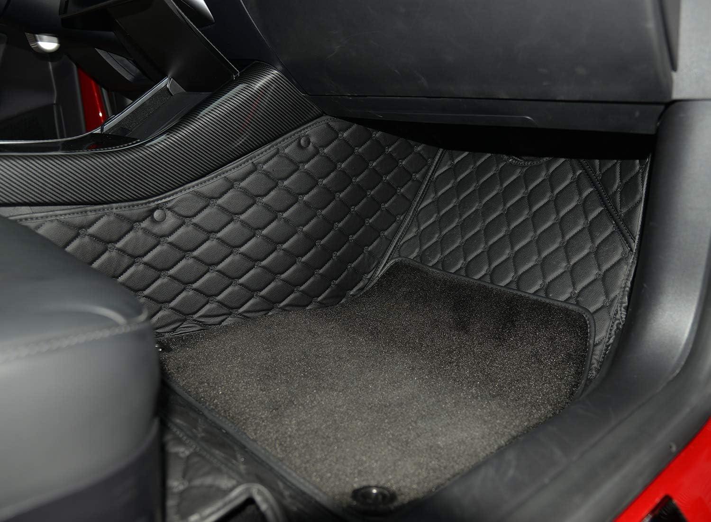 WJM Car PU Leather Floor Mat for Tesla Model 3 Waterproof Full Covered Vehicle Floor Carpet PU Floor Mats-Black