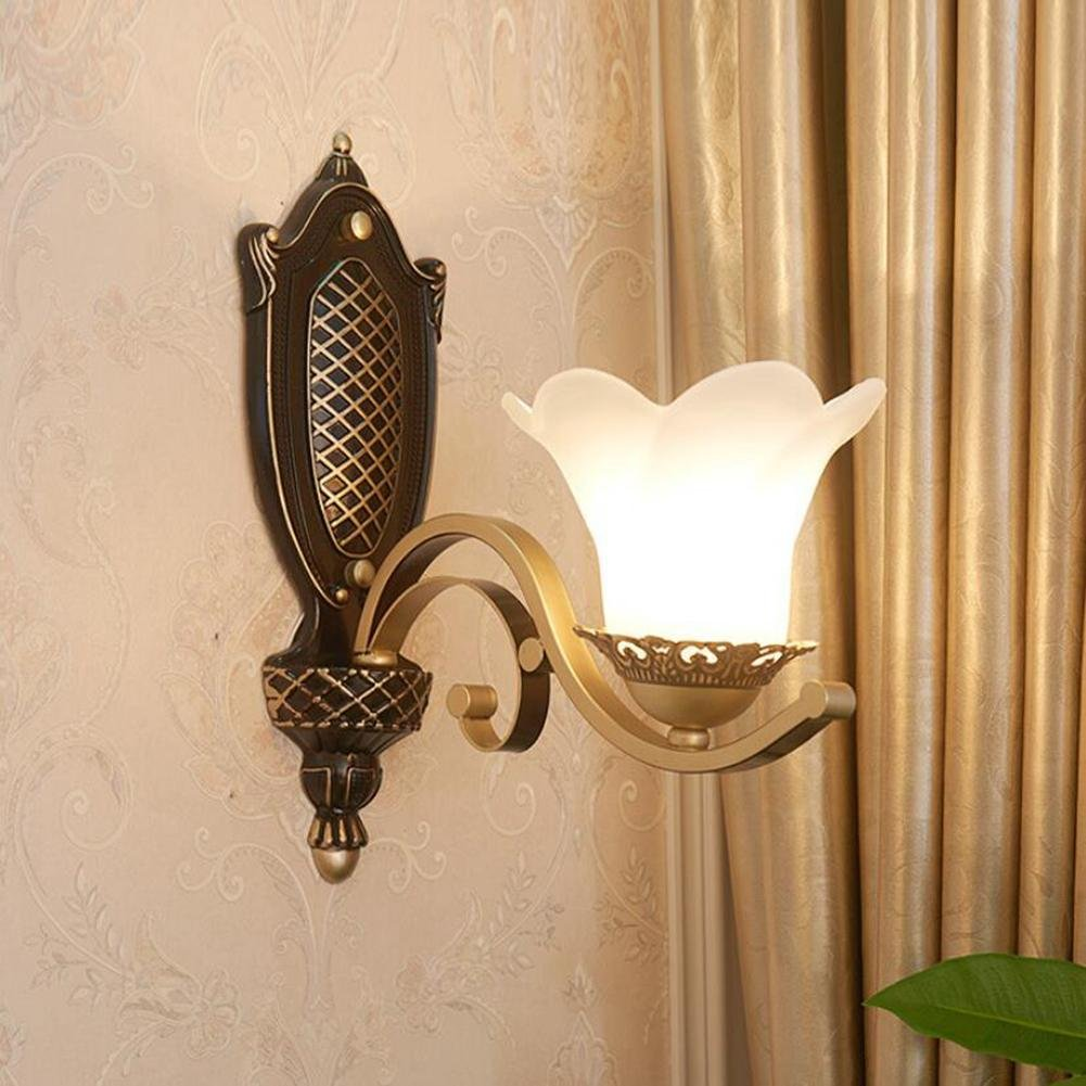 CW&T WW European Retro Wall Lamp Study Bedroom Bedside Living Room Corridor Aisle Lights Luxury Wall American Decorative Lights, No Light Source, 1 Head