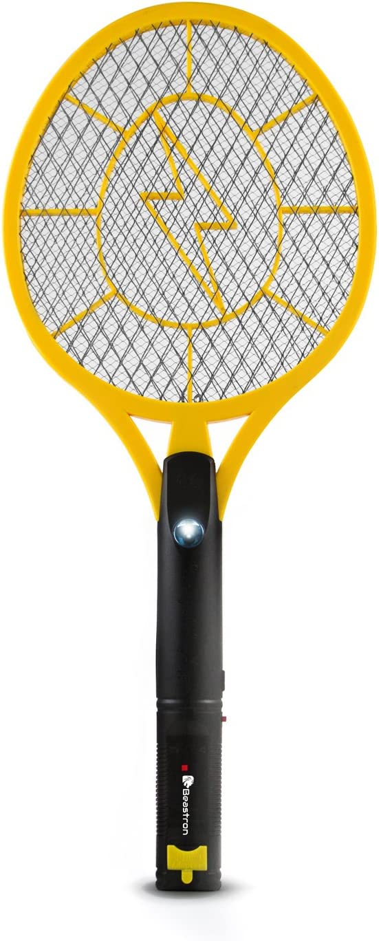 Beastron (Large Size Mosquito Racquet Killer Racket with USB Charging (Upgraded) Rechargeable Bug Zapper, Electric Fly Swatter 3000, 1 Pack, Yellow 71LjOaZlnqL