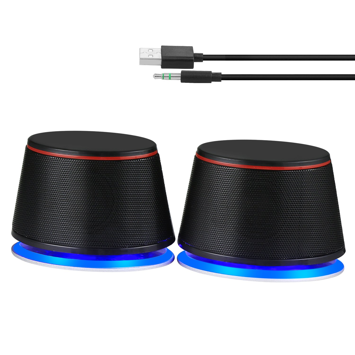 Sanyun SW102 Computer Speakers, Stereo 2.0 Channel Wired USB Powered PC Laptop Speakers, 3.5mm Aux Blue LED Small Desktop Speaker, Black by Sanyun (Image #2)