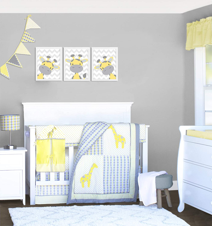 10 Piece Giraffe Safari Yellow and Gray Crib Bedding Set