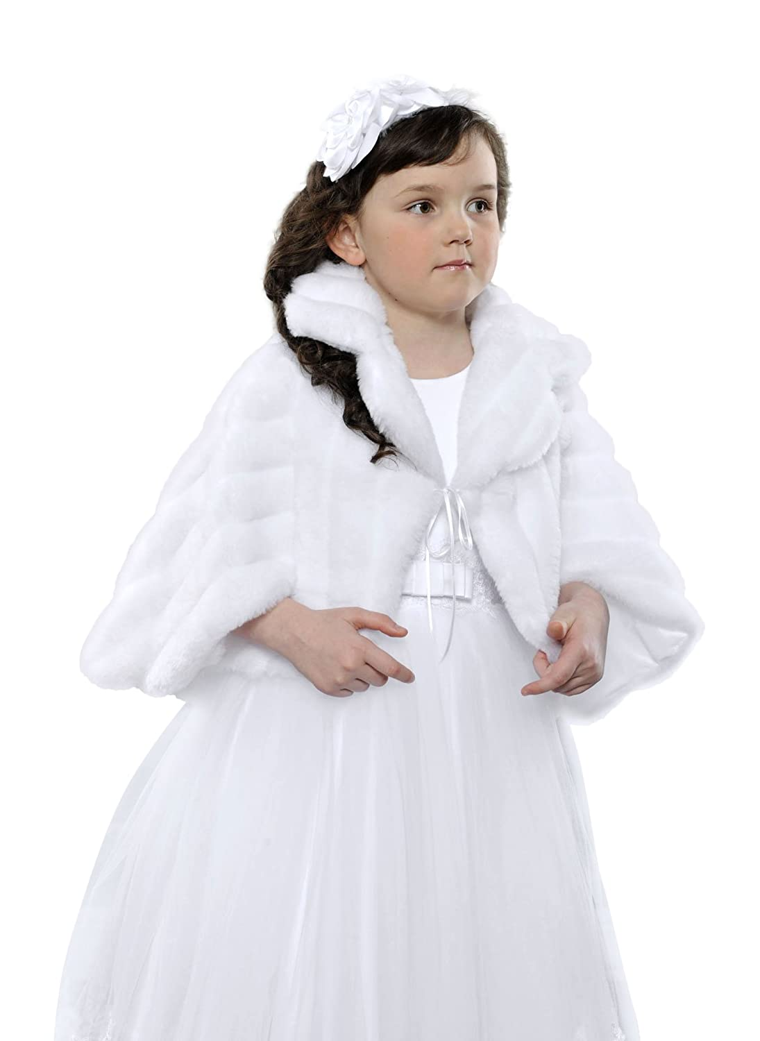 Flower Girls Communion Lined Bolero Wrap Stole Faux Fur Shrug