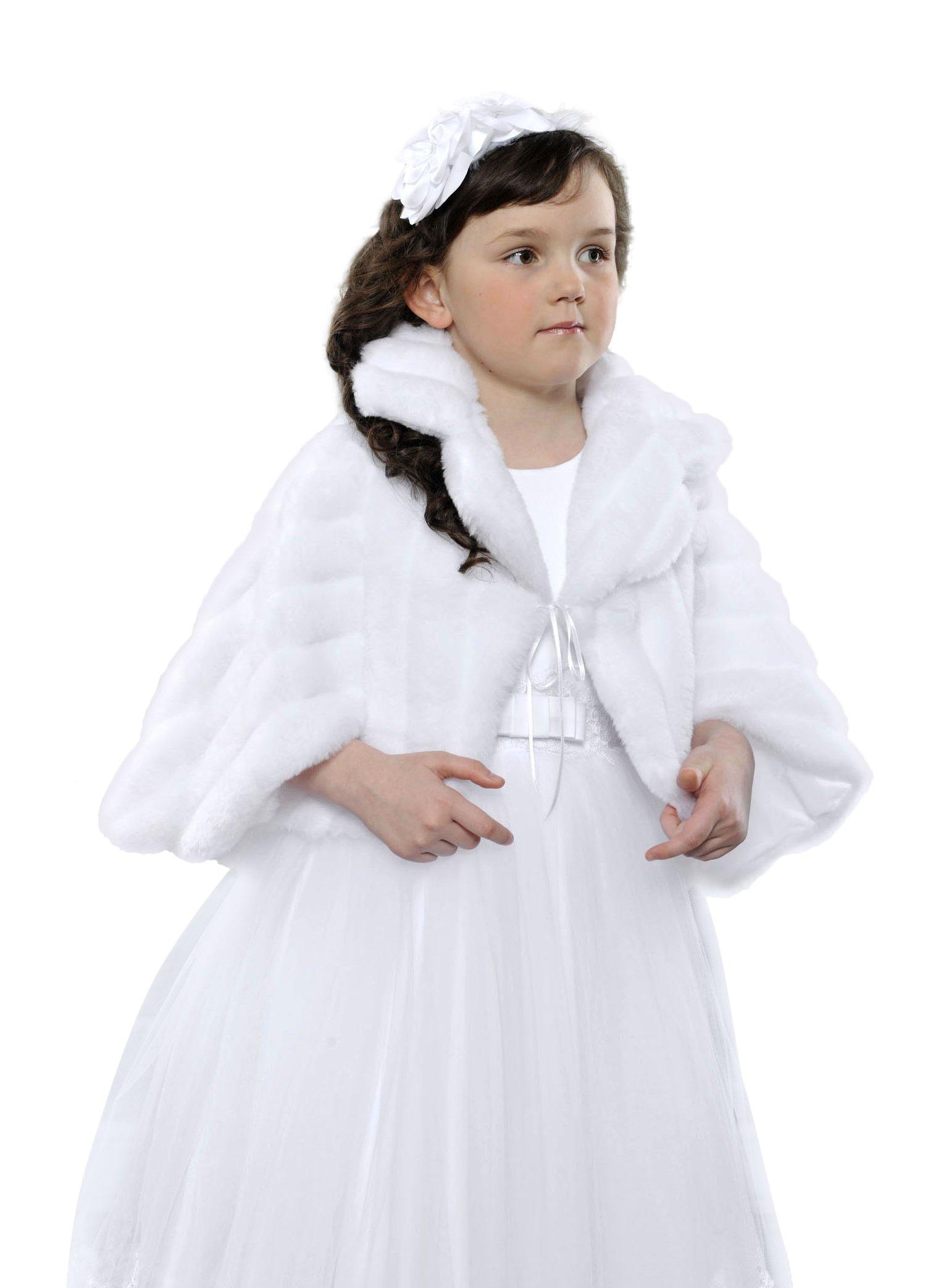 OssaFashion-BridalWear Flower Girls First Communion Bridesmaid Bolero Wrap Stole Faux Fur Shrug Cape Ivory or White, Full Lined