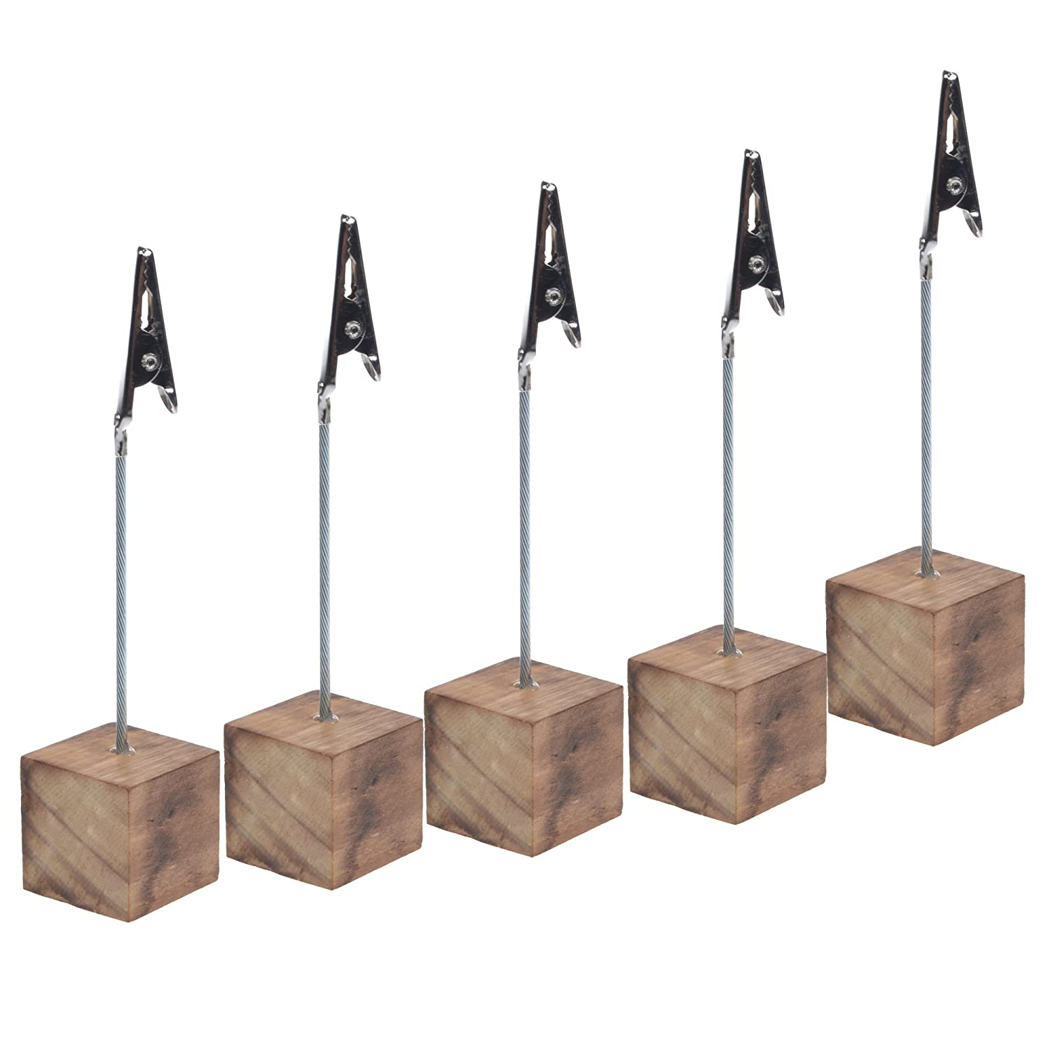 Wooden Base Cosmos/® 10 Pcs Lightweight Cube Base Memo Clips Holder with Alligator Clip Clasp for Displaying Number Cards AX-AY-ABHI-120902