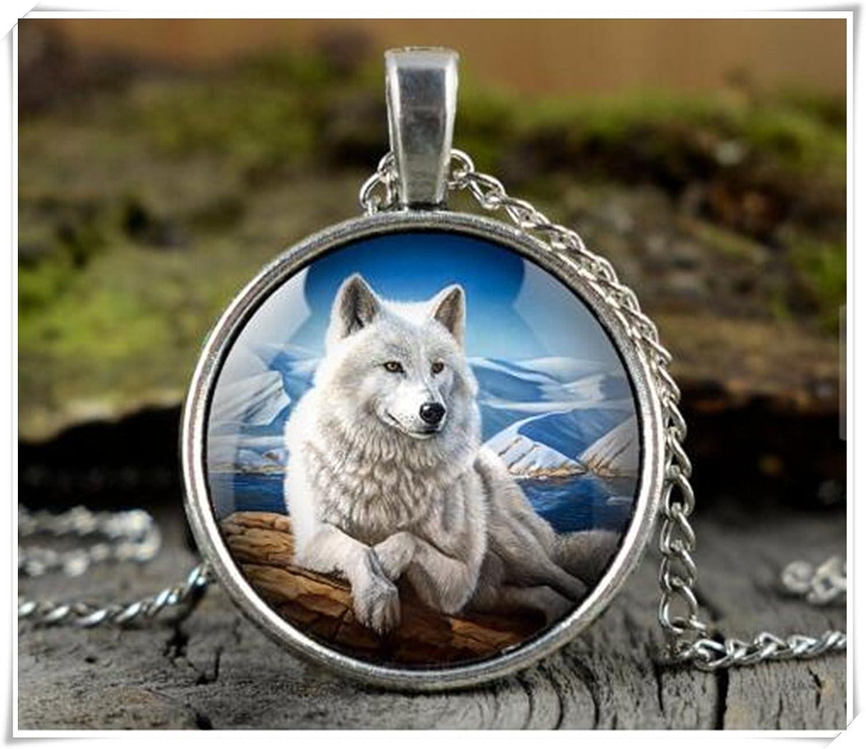 Blanco lobo collar, collar de animales