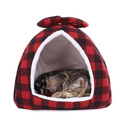 Ohana Plaid Igloo Cama de Gato Polar pequeño Perro casa Cama Elegante pirámide Cueva Cama para