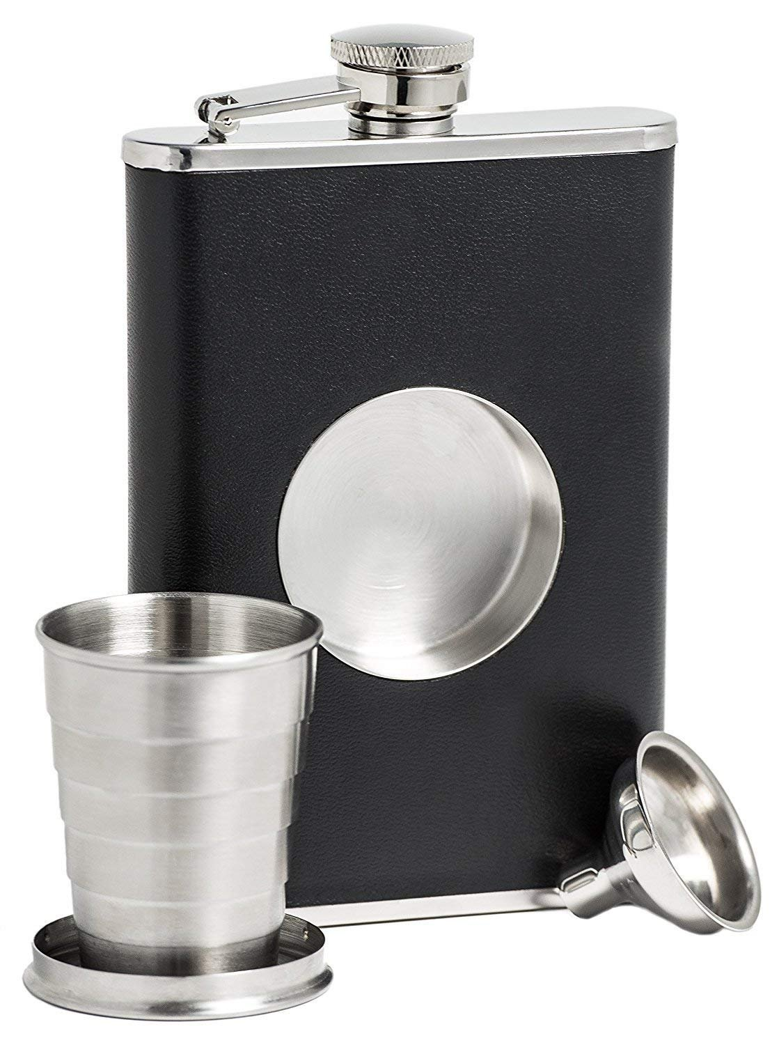 Stainless Steel Hip Flask, ICASA, 8 oz Shot Flask and Built-in Collapsible 2 Oz Shot Glass & Flask Funnel, Groomsmen Gifts