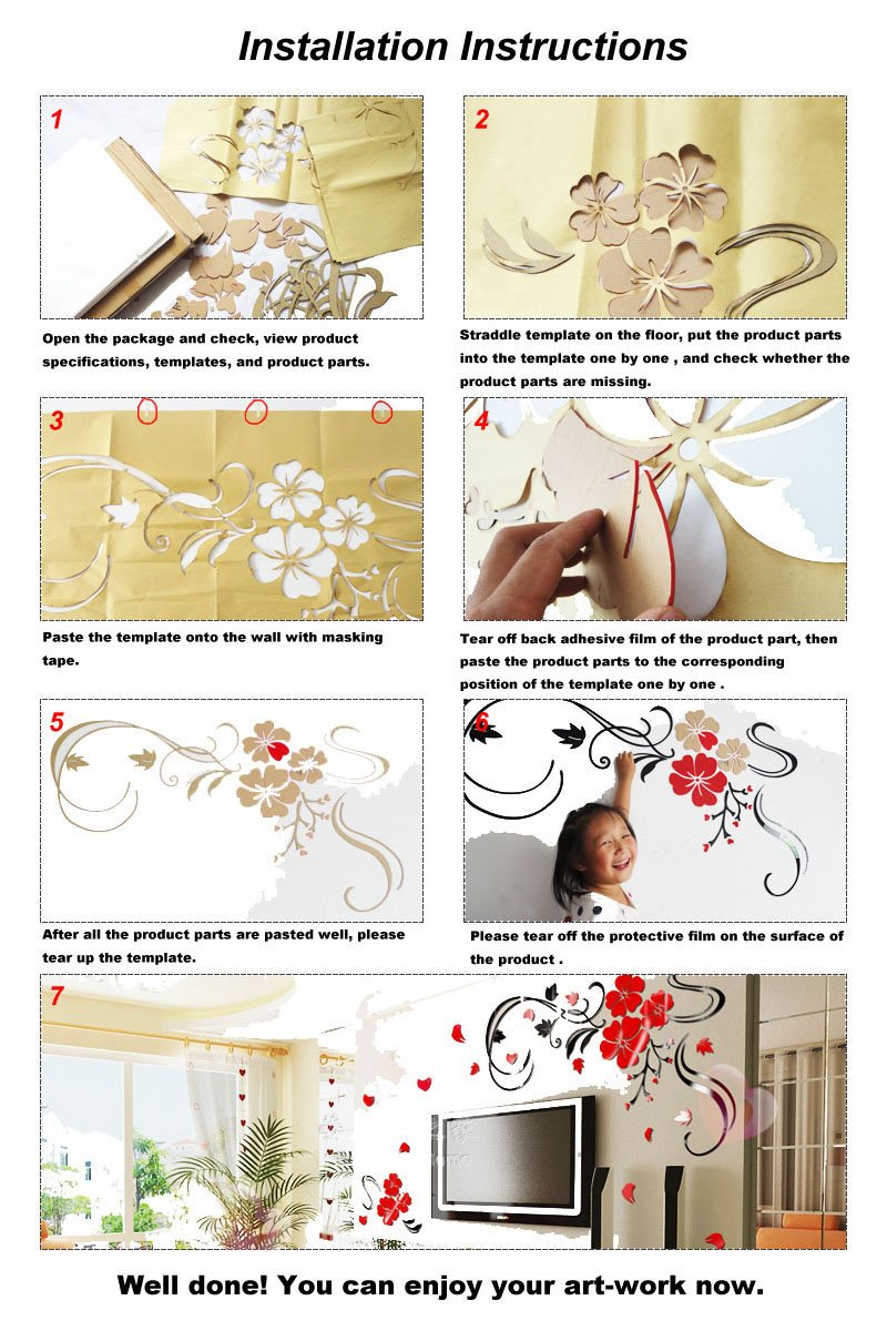 Alrens(TM)Luxury Rose Flowers 3D Acrylic Crystal Wall Stickers Waterproof Removable Decal Bedside Bedroom Creative Wedding Room Decor Art Self Adhesive Home Decoration