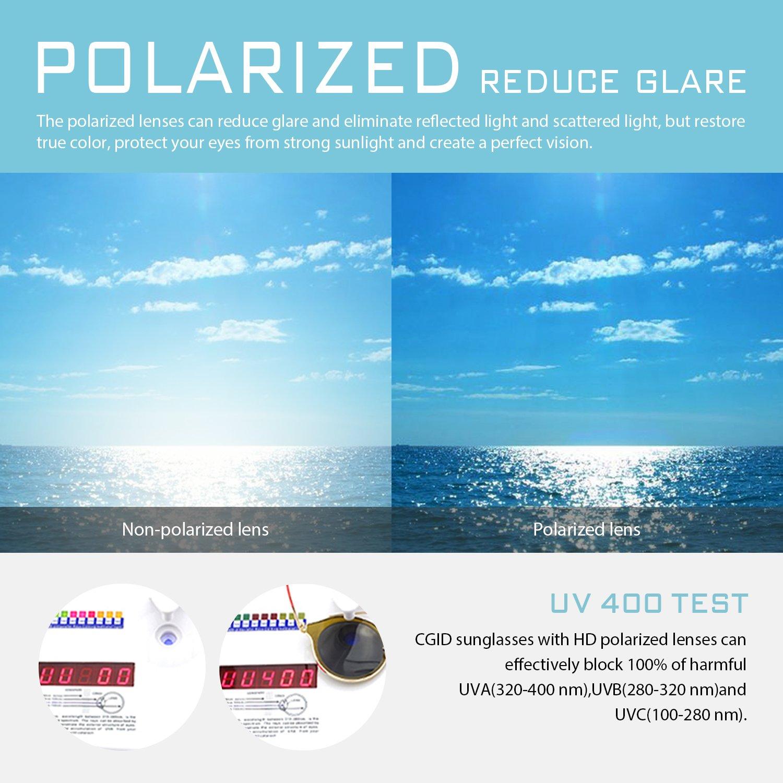 ab37a8ce25c9 Amazon.com  CGID MJ85 Retro Polarized Sunglasses Double Circle Mirror UV400  Lens Metal Frame Oversized  Clothing
