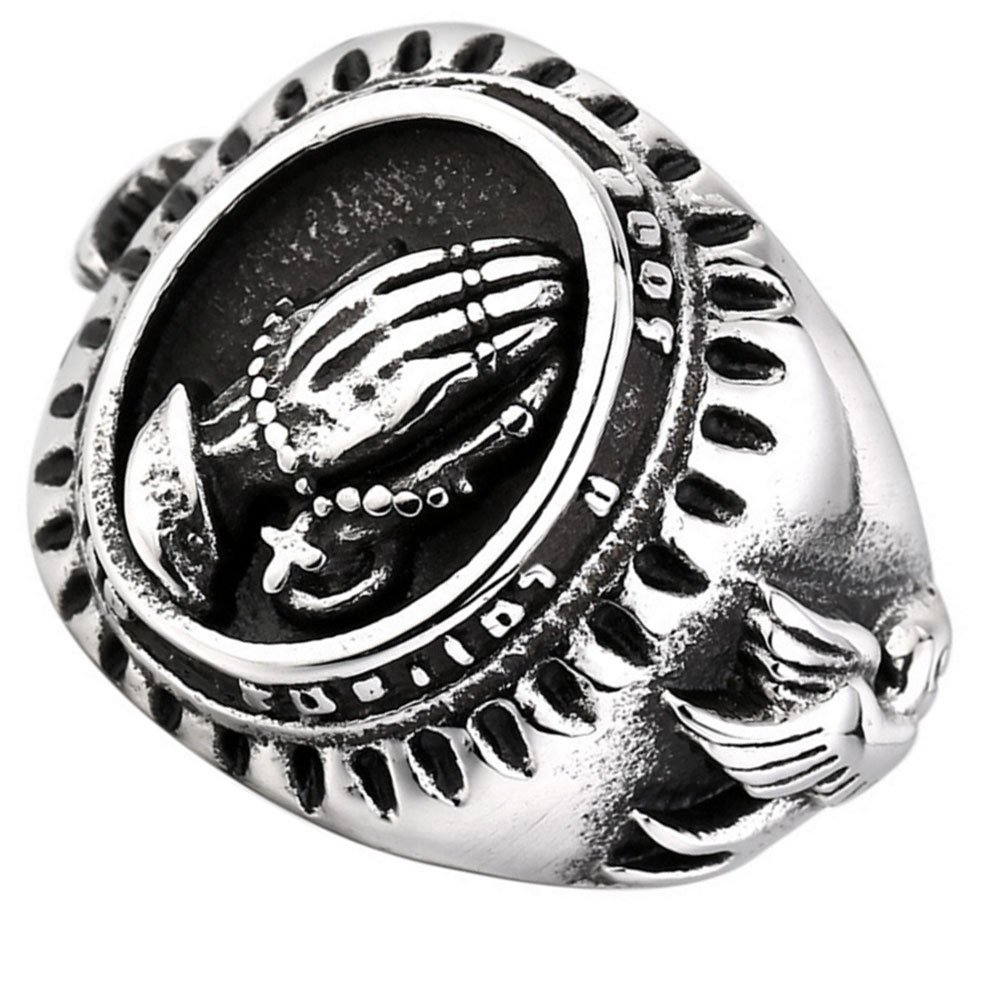 XAHH Jewelry Men's Stainless Steel Vintage Praying Hands Ring Black Silver 8 by XAHH (Image #2)