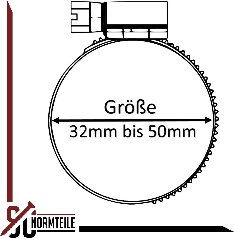 komplett aus Edelstahl A2 V2A Spannbereich = 10-16 mm 10 St/ück Schlauchschellen mit Schneckenantrieb | SC3017 SC-Normteile Breite= 9 mm DIN 3017 W4