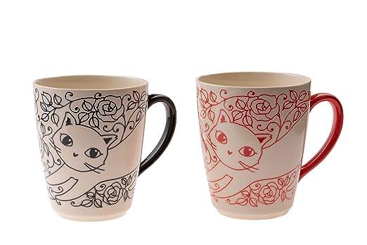 Juego de 2 tazas para gatos de color rojo y azul: Amazon.es: Hogar