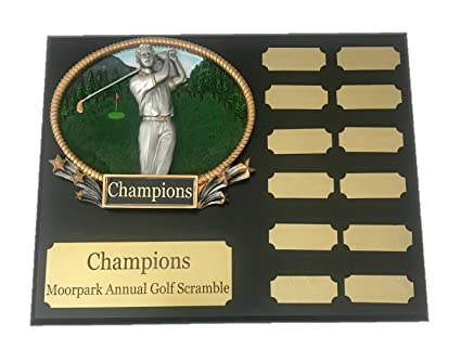 Amazon.com: NWA Golf Placa Perpetual, 12 años de golf, placa ...