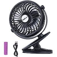 SkyGenius Battery Operated Clip on Mini Desk Fan (Black)