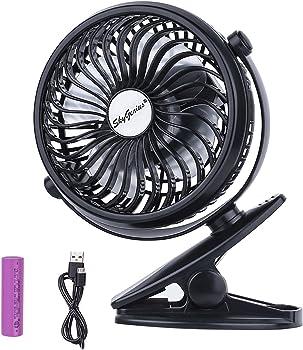 SkyGenius Battery Operated Clip on Mini Desk Fan