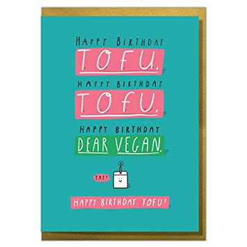 Happy Birthday Tofu Funny Vegan Card