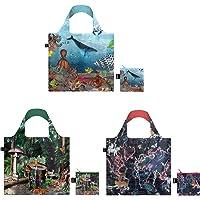LOQI Kristjana S Williams Interiors Reusable Shopping Bags, (Set of 3), Black Forest, Barrier Reef, World Map