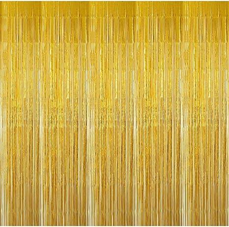 Bangshou Metallische Lametta Vorhänge 4 Pack Folie Vorhang Metallic Tinsel Vorhänge Mit Größe Von 1m X 3m Hintergrund Fringe Vorhänge Für Weihnachten Halloween Geburtstag Hochzeit Gold Küche Haushalt