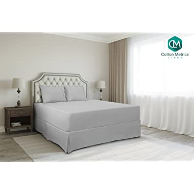 Cotton Metrics Linen Present 800TC Hotel Quality 100% Egyptian Cotton Bed Skirt 18  Drop Length Queen Size Silver Grey Solid