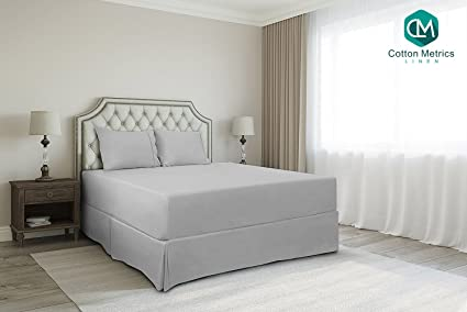 Cotton Metrics Linen Present 800TC Hotel Quality 100% Egyptian Cotton Bed Skirt 16 Drop Length King Size Silver Grey Solid