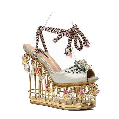 e3f15d55e53bb Amazon.com | Flower Wedding Shoes Women Platform Shoes Metal Super ...
