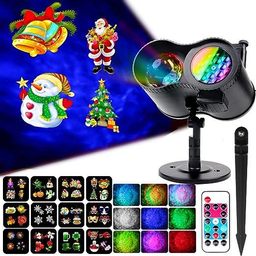 KOOT Proyector de Navidad LED con mando a distancia, 12 patrones ...