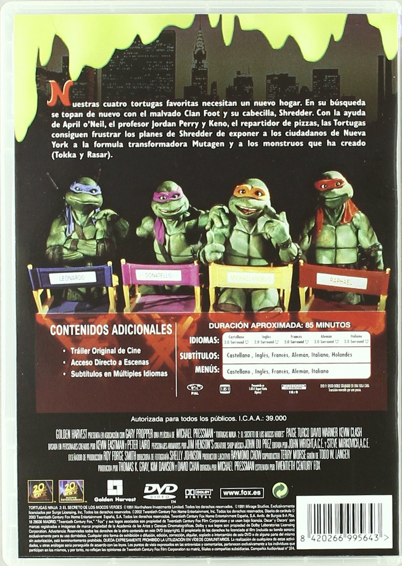 Tortugas Ninja 2 El Secreto De Los Mocos [DVD]: Amazon.es ...