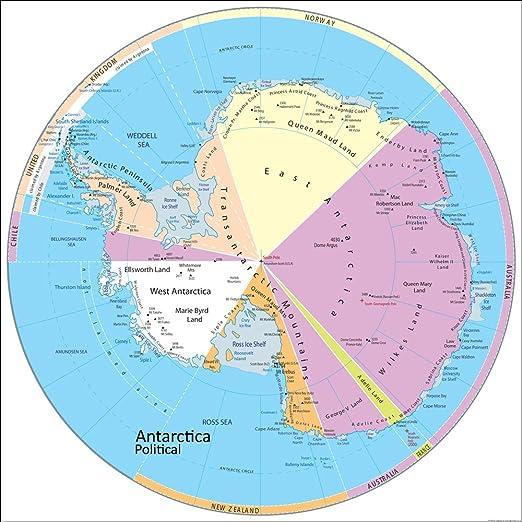 La Antártida mapa político – Vinilo – 100 x 100 cm: Amazon.es: Oficina y papelería