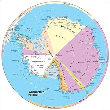 Antarktis Politische Karte Papier Laminiert 100 X 100 Cm