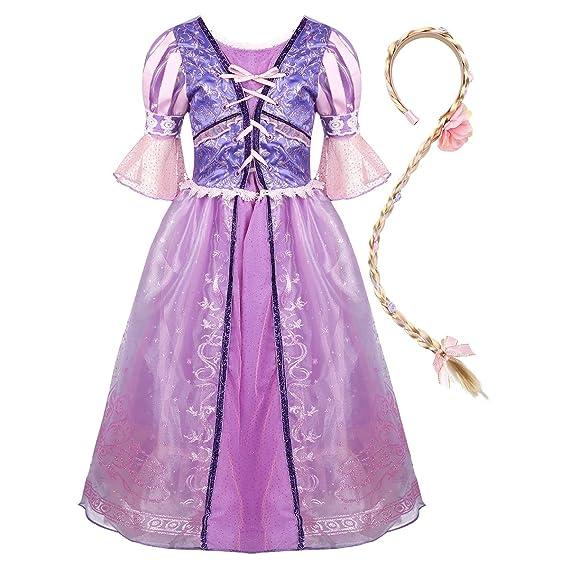 ranrann Disfraz de Sofía Princesa para Niña Vestido de Princesa de Cuento Cosplay Traje Fairy Tales Vestido Fantasía con Peluca Fiesta Cumpleaños ...