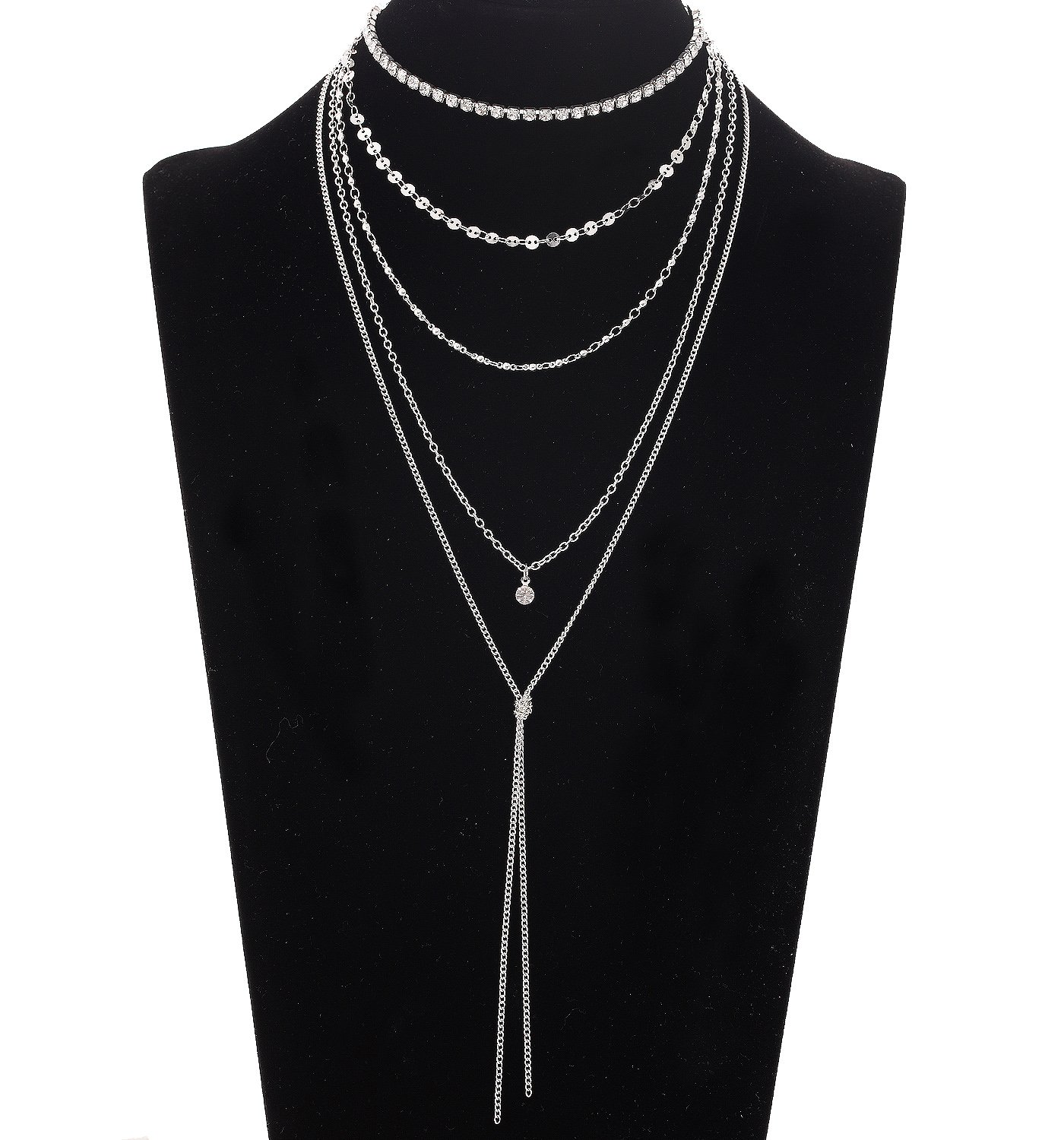 VUJANTIRY Sequins Chain Choker Necklace Multilayer Long Tassel Pendant Necklace Y (Silver)