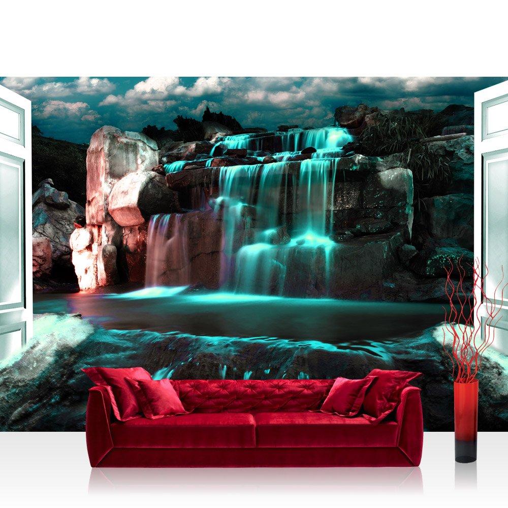 Vlies Fototapete 416x254cm PREMIUM PLUS Wand Foto Tapete Wand Bild Vliestapete - Wasser Tapete Wasserfall Felsen Wolken Tür Nacht türkis - no. 2964