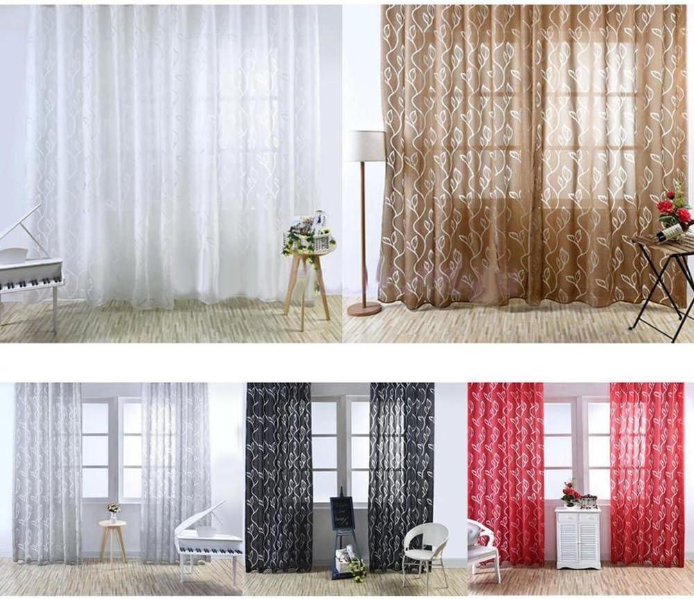 Vosarea Cortinas translúcidas Transparentes para Ventana con diseño de Hojas de Tul para Cortinas de Gasa y Barra, 100 x 200 cm, Color Negro: Amazon.es: Hogar