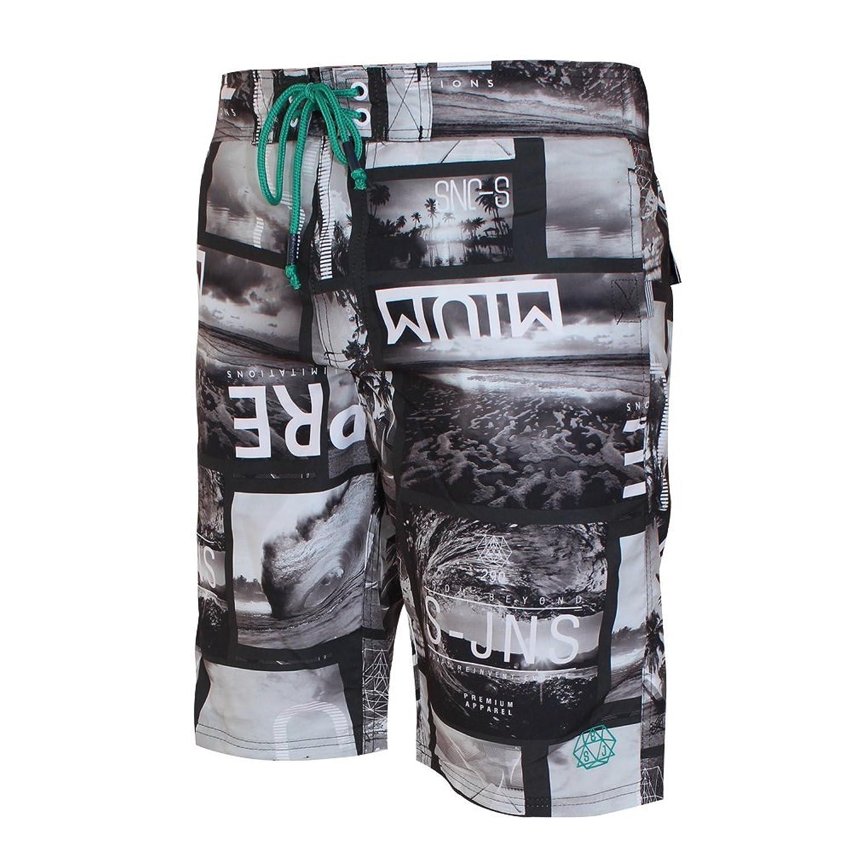 08b5d4bd1432a Mens Smith & Jones Convex Board Shorts & Free Flip Flops Designer Swimming  Trunks: Amazon.co.uk: Clothing