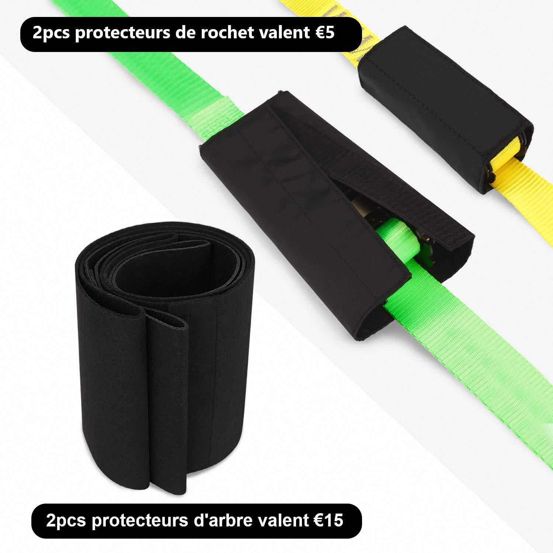 Manual Bolsa de Transporte 18 m Cinta de Entrenamiento Protector de /árbol Deporte de Equilibrio Ideal para Ni/ños Adultos Principiantes Expertos Gonex Slackline Kit Protector de Trinquete